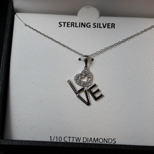 Love Necklace 1/10 CTTW Diamonds Sterling Silver